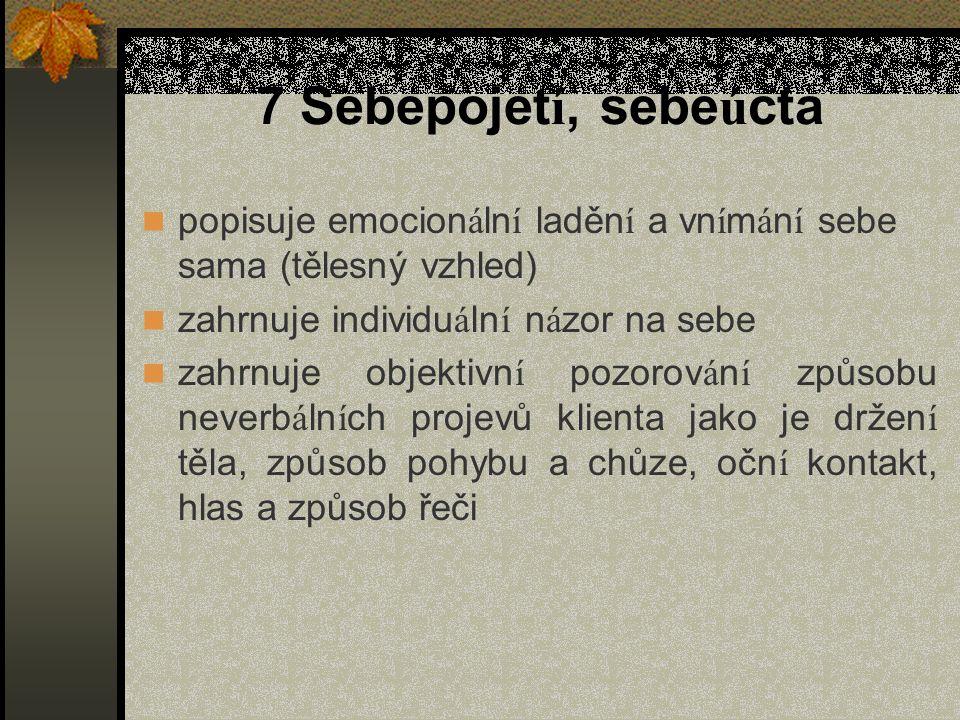 7 Sebepojet í, sebe ú cta popisuje emocion á ln í laděn í a vn í m á n í sebe sama (tělesný vzhled) zahrnuje individu á ln í n á zor na sebe zahrnuje