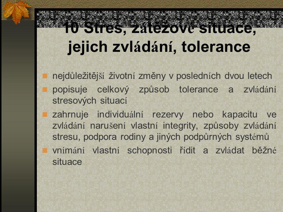 10 Stres, z á těžov é situace, jejich zvl á d á n í, tolerance nejdůležitěj ší životn í změny v posledn í ch dvou letech popisuje celkový způsob toler
