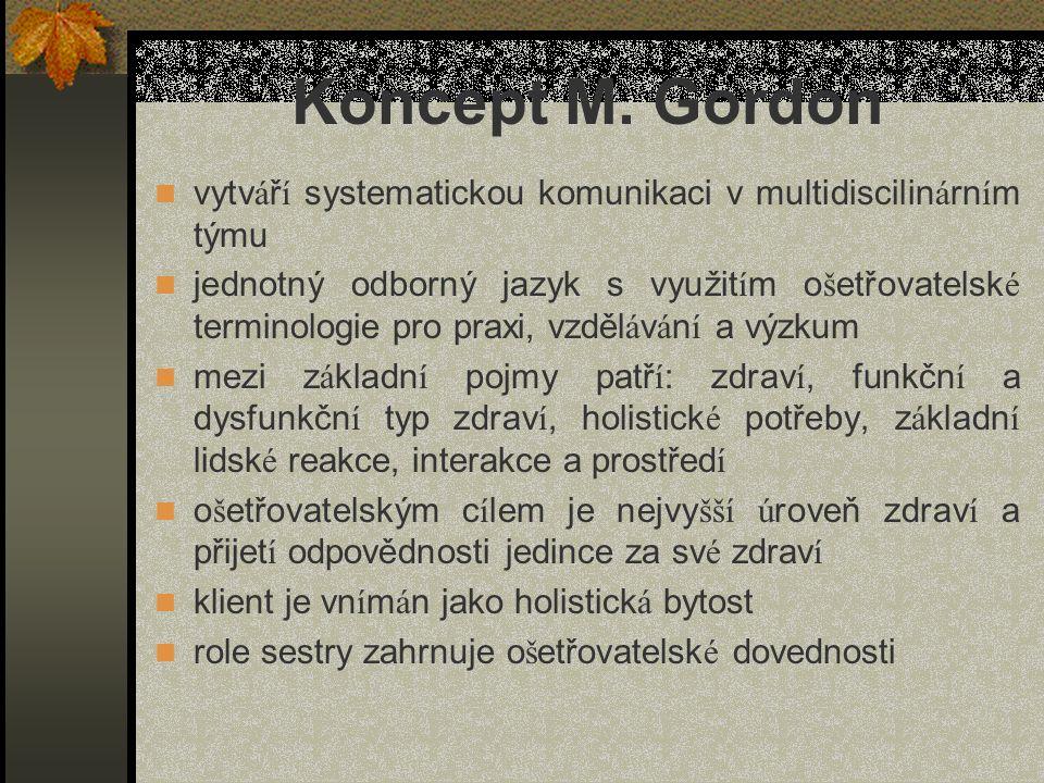 Koncept M. Gordon vytv á ř í systematickou komunikaci v multidiscilin á rn í m týmu jednotný odborný jazyk s využit í m o š etřovatelsk é terminologie