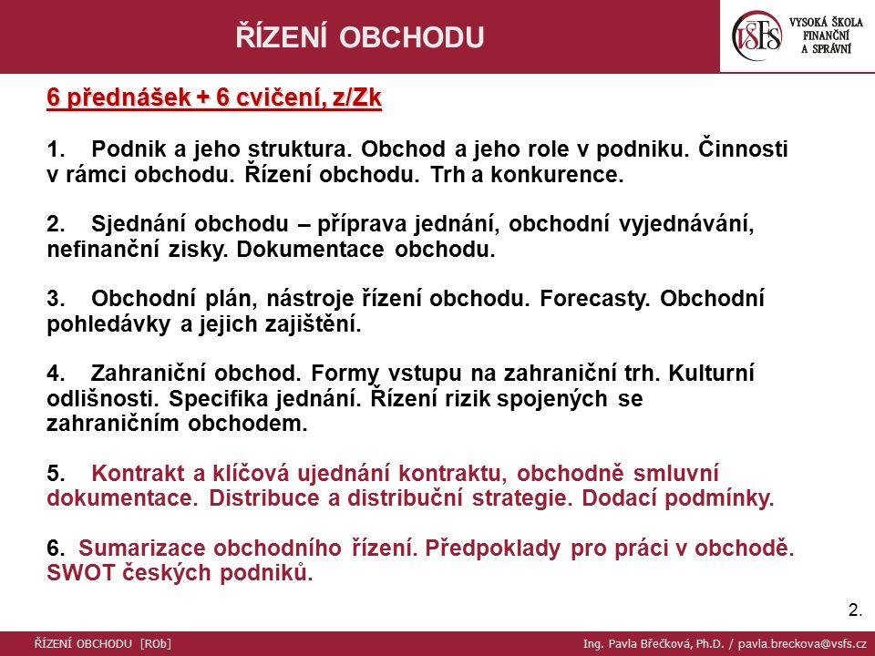 2.2.ŘÍZENÍ OBCHODU 6 přednášek + 6 cvičení, z/Zk 1.