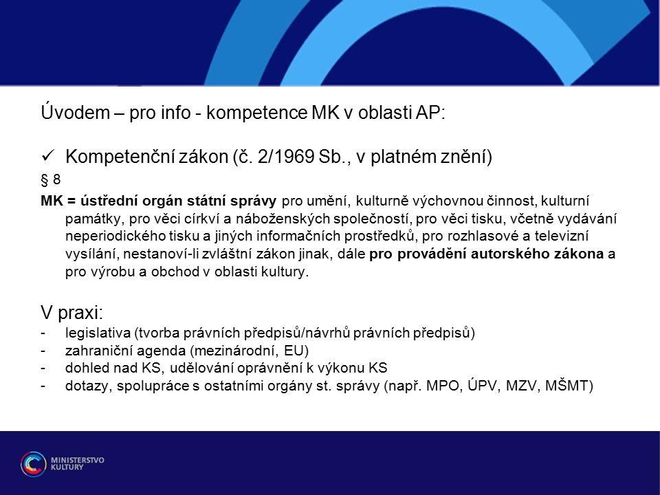 Aktuální témata - legislativní změny (prosinec 2014) 1/ svět (mezinárodní smlouvy, WIPO) 2/ EU (směrnice EU, plány EK, předběžné otázky) 3/ ČR (novely AZ – přijaté, chystané)