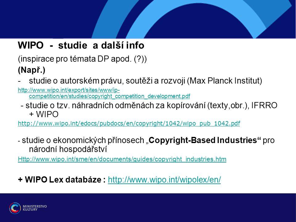 WIPO - studie a další info (inspirace pro témata DP apod.