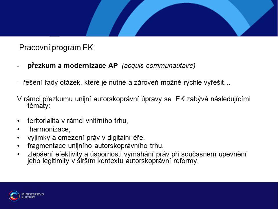 Pracovní program EK: -přezkum a modernizace AP (acquis communautaire) - řešení řady otázek, které je nutné a zároveň možné rychle vyřešit… V rámci přezkumu unijní autorskoprávní úpravy se EK zabývá následujícími tématy: teritorialita v rámci vnitřního trhu, harmonizace, výjimky a omezení práv v digitální éře, fragmentace unijního autorskoprávního trhu, zlepšení efektivity a úspornosti vymáhání práv při současném upevnění jeho legitimity v širším kontextu autorskoprávní reformy.