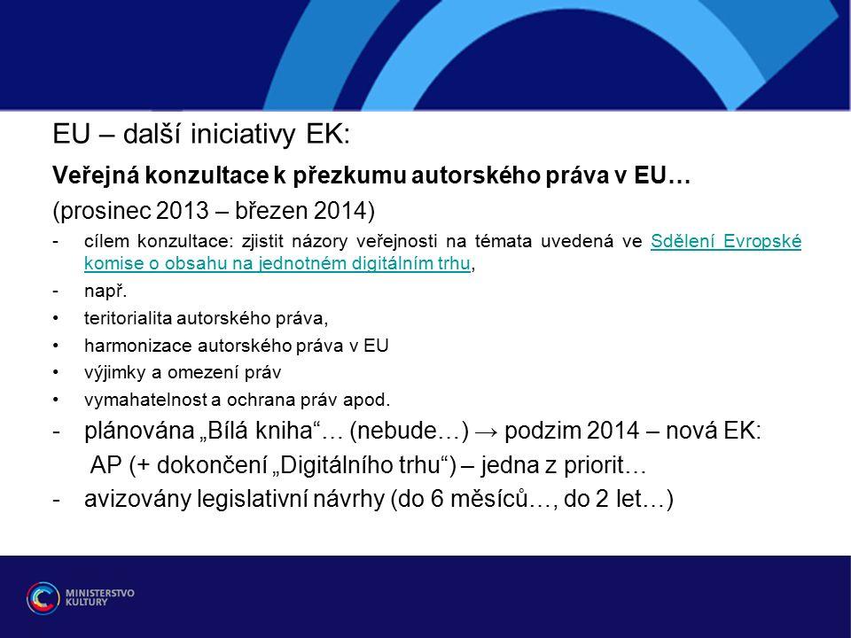 EU – další iniciativy EK: Veřejná konzultace k přezkumu autorského práva v EU… (prosinec 2013 – březen 2014) -cílem konzultace: zjistit názory veřejnosti na témata uvedená ve Sdělení Evropské komise o obsahu na jednotném digitálním trhu,Sdělení Evropské komise o obsahu na jednotném digitálním trhu -např.