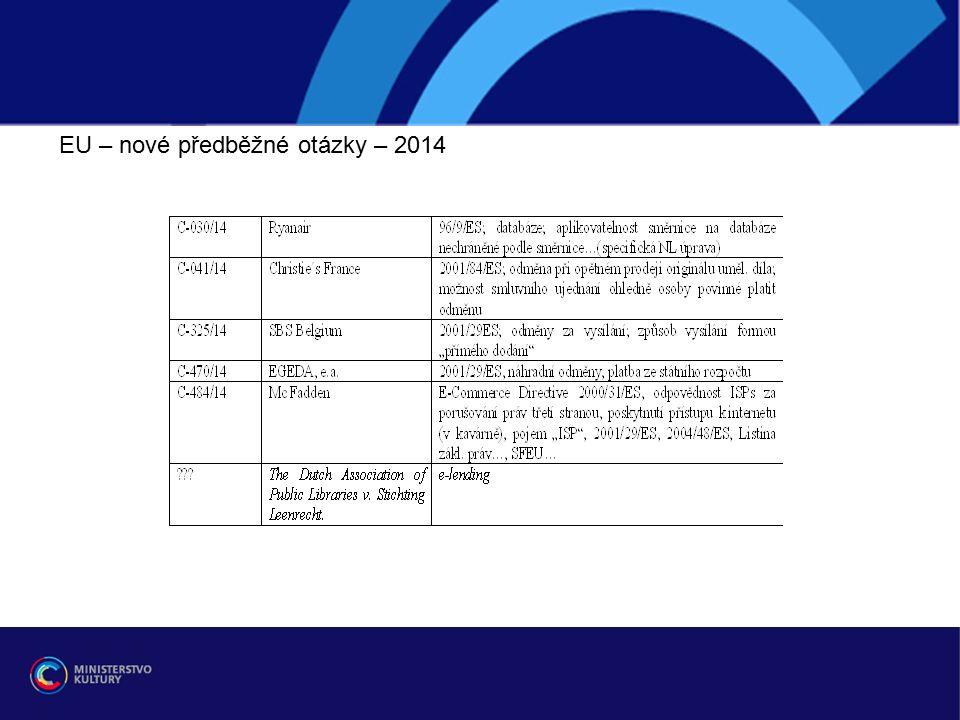 EU – nové předběžné otázky – 2014