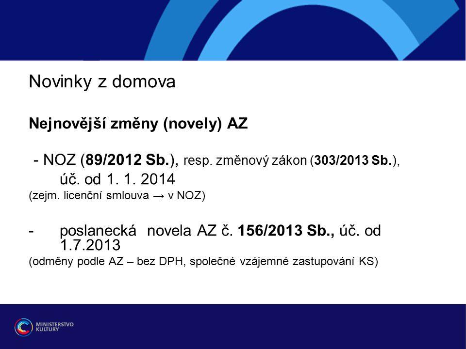 Novinky z domova Nejnovější změny (novely) AZ - NOZ (89/2012 Sb.), resp.