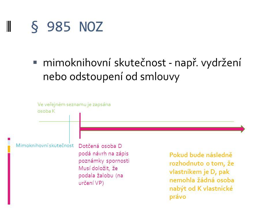 § 985 NOZ  mimoknihovní skutečnost - např. vydržení nebo odstoupení od smlouvy Dotčená osoba D podá návrh na zápis poznámky spornosti Musí doložit, ž