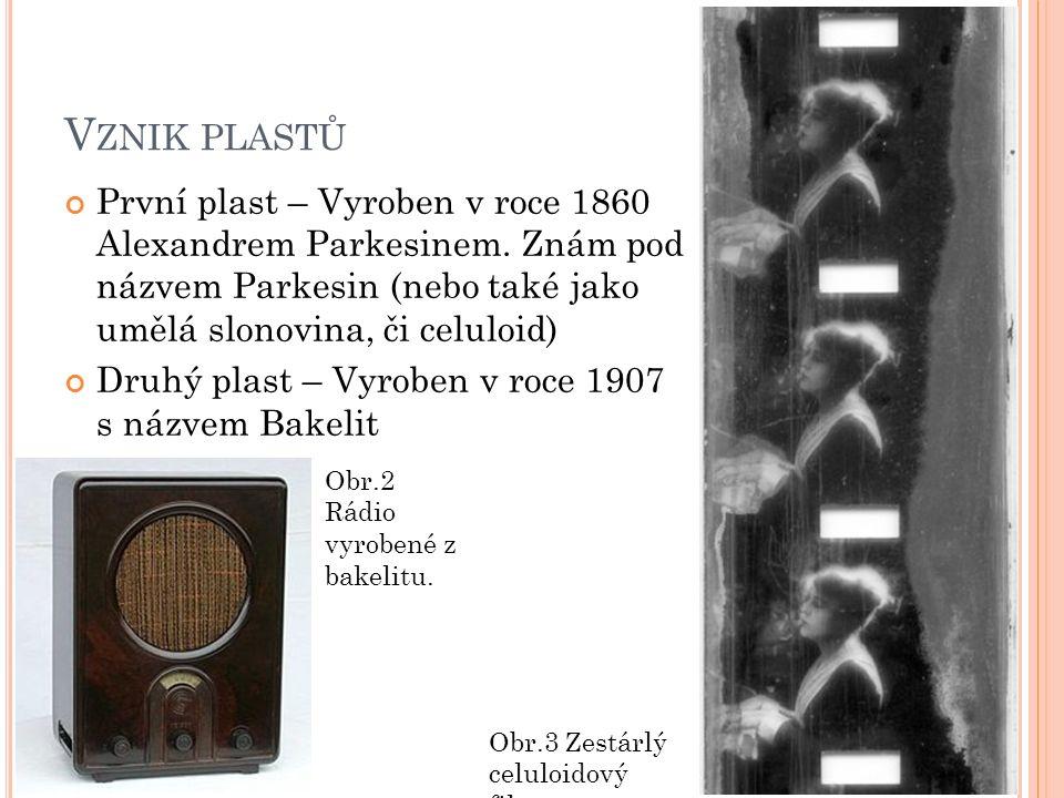 V ZNIK PLASTŮ První plast – Vyroben v roce 1860 Alexandrem Parkesinem.
