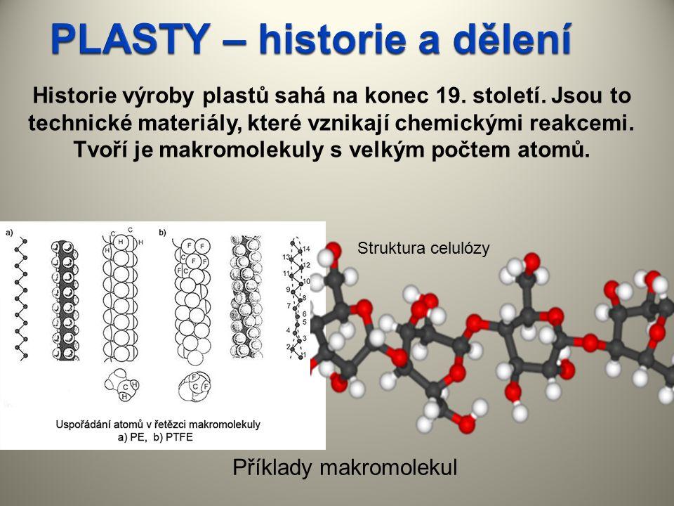 Historie výroby plastů sahá na konec 19. století. Jsou to technické materiály, které vznikají chemickými reakcemi. Tvoří je makromolekuly s velkým poč