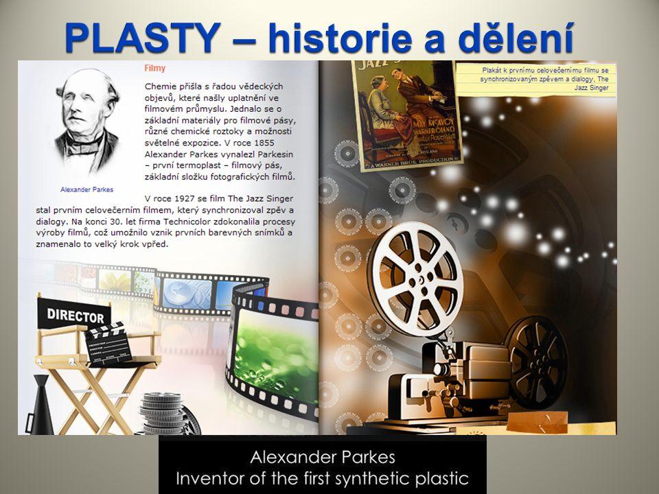 BAKELIT byl vyroben v roce1909 PVC(polyvinylchlorid) v roce 1912 PLEXISKLO (organické sklo)1930 POLYSTYREN1939 Další obrovský rozmach ve výrobě plastů nastal po roce 1945.