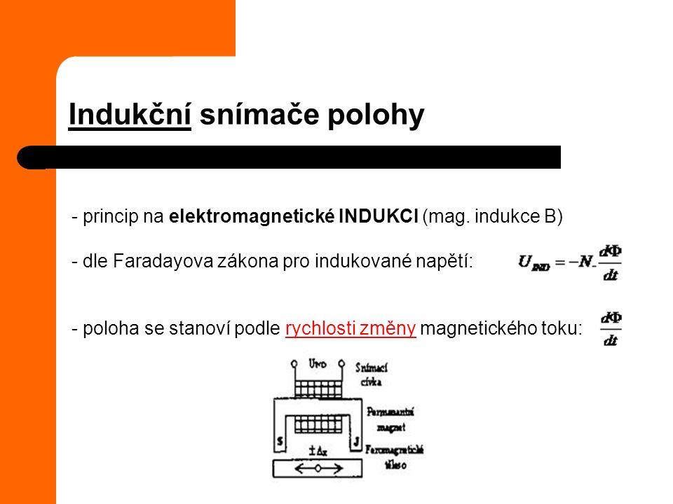 - princip na elektromagnetické INDUKCI (mag. indukce B) - dle Faradayova zákona pro indukované napětí: - poloha se stanoví podle rychlosti změny magne
