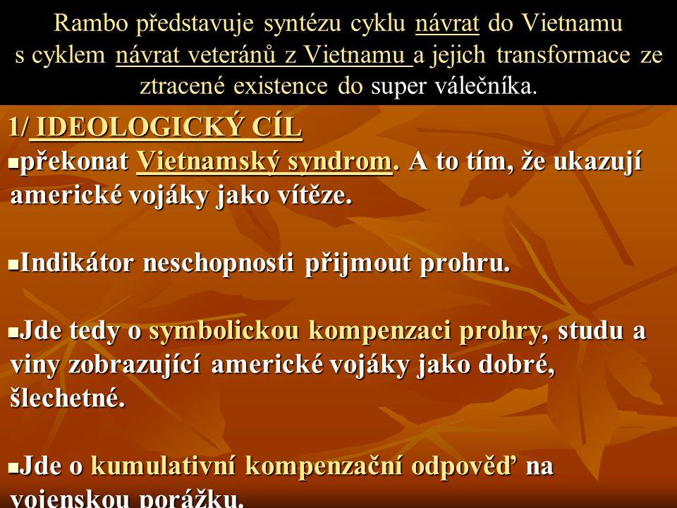 Rambo představuje syntézu cyklu návrat do Vietnamu s cyklem návrat veteránů z Vietnamu a jejich transformace ze ztracené existence do super válečníka.
