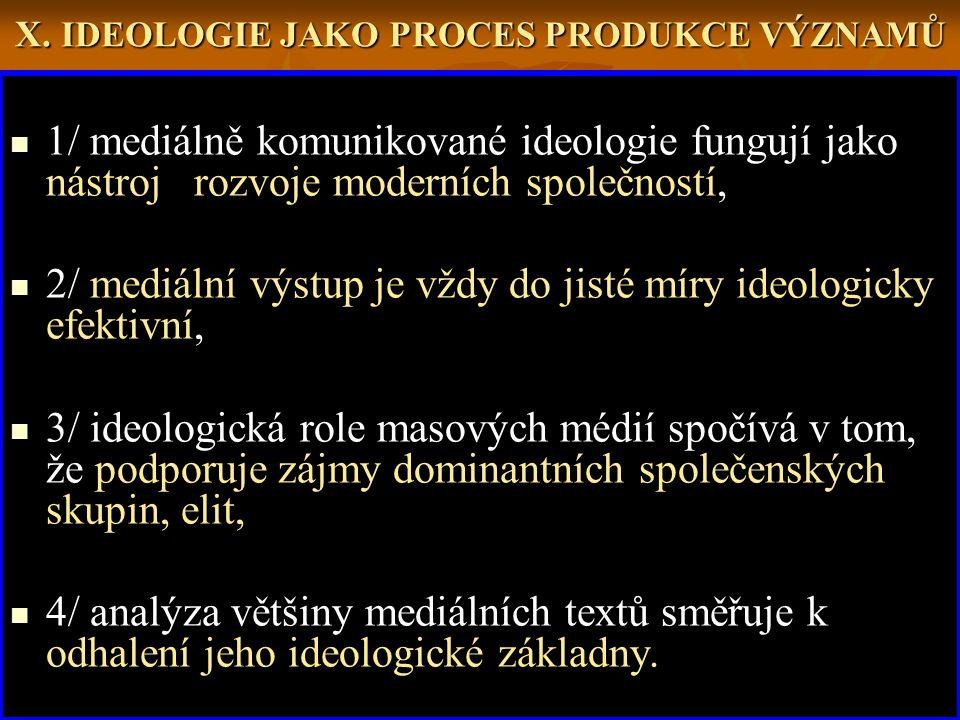 X. IDEOLOGIE JAKO PROCES PRODUKCE VÝZNAMŮ 1/ mediálně komunikované ideologie fungují jako nástroj rozvoje moderních společností, 2/ mediální výstup je