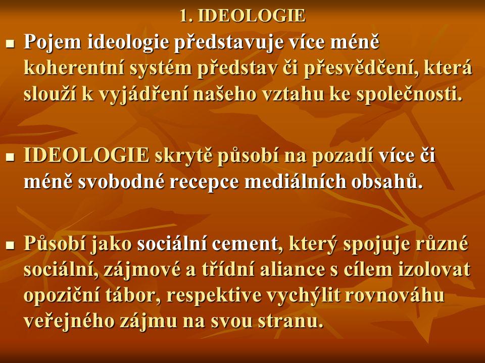 1. IDEOLOGIE Pojem ideologie představuje více méně koherentní systém představ či přesvědčení, která slouží k vyjádření našeho vztahu ke společnosti. P