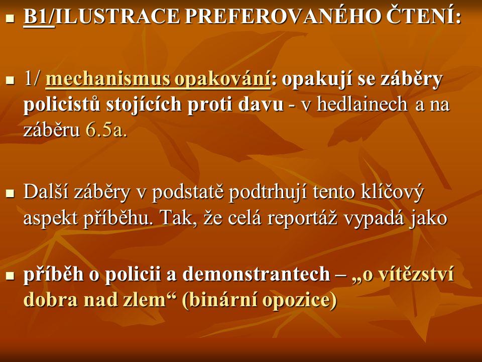 B1/ILUSTRACE PREFEROVANÉHO ČTENÍ: B1/ILUSTRACE PREFEROVANÉHO ČTENÍ: 1/ mechanismus opakování: opakují se záběry policistů stojících proti davu - v hedlainech a na záběru 6.5a.