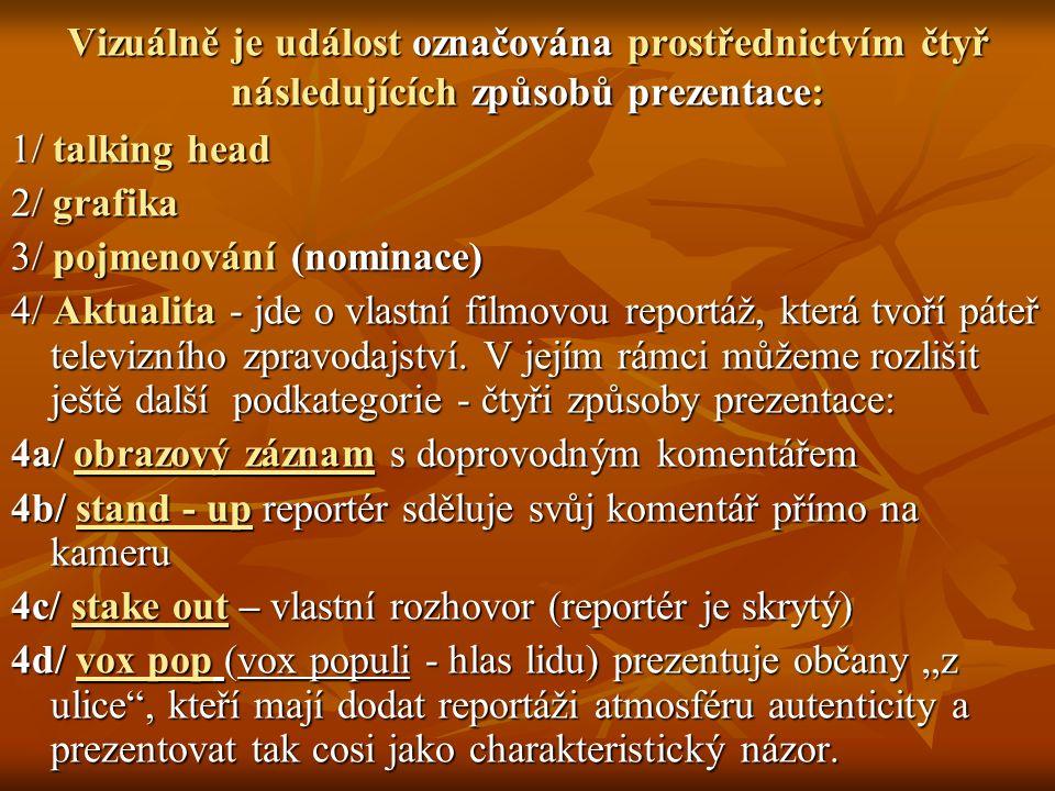 Vizuálně je událost označována prostřednictvím čtyř následujících způsobů prezentace: 1/ talking head 2/ grafika 3/ pojmenování (nominace) 4/ Aktualita - jde o vlastní filmovou reportáž, která tvoří páteř televizního zpravodajství.
