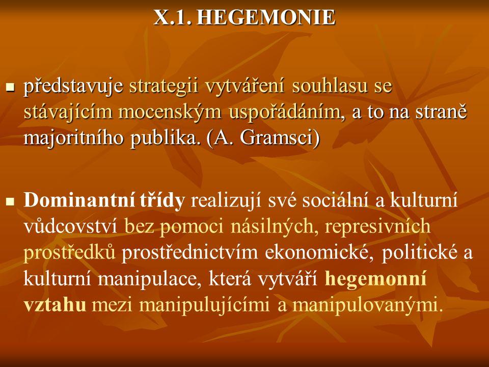 X.1. HEGEMONIE představuje strategii vytváření souhlasu se stávajícím mocenským uspořádáním, a to na straně majoritního publika. (A. Gramsci) představ