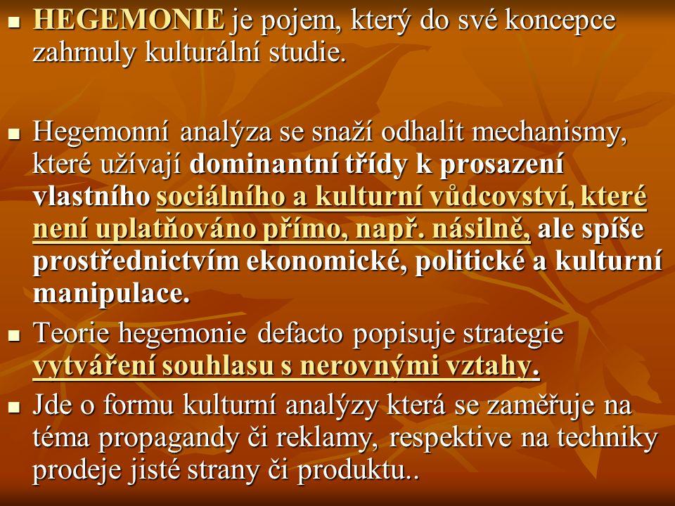HEGEMONIE je pojem, který do své koncepce zahrnuly kulturální studie.