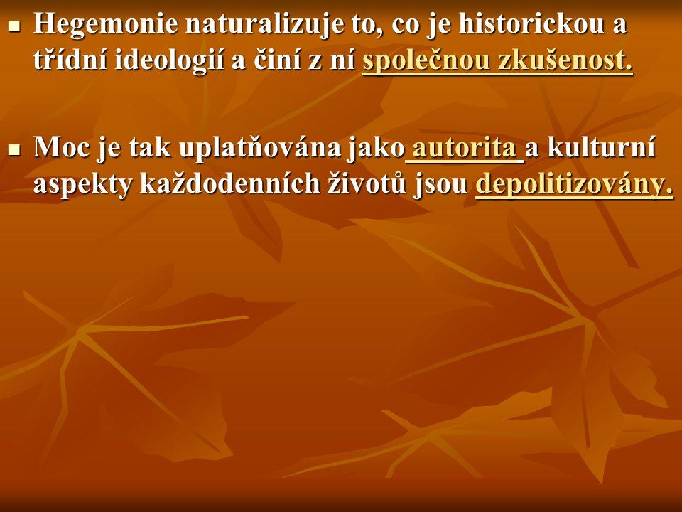 Hegemonie naturalizuje to, co je historickou a třídní ideologií a činí z ní společnou zkušenost.
