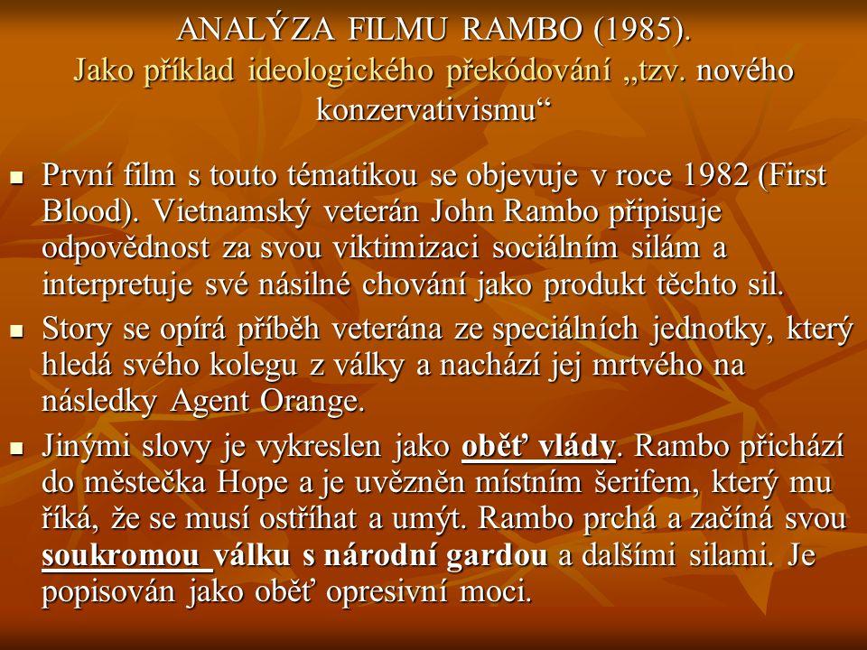 """ANALÝZA FILMU RAMBO (1985). Jako příklad ideologického překódování """"tzv."""