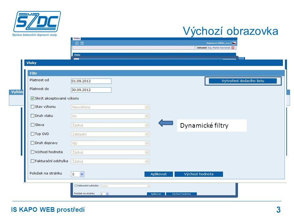 3 IS KAPO WEB prostředí Výchozí obrazovka Dynamické filtry