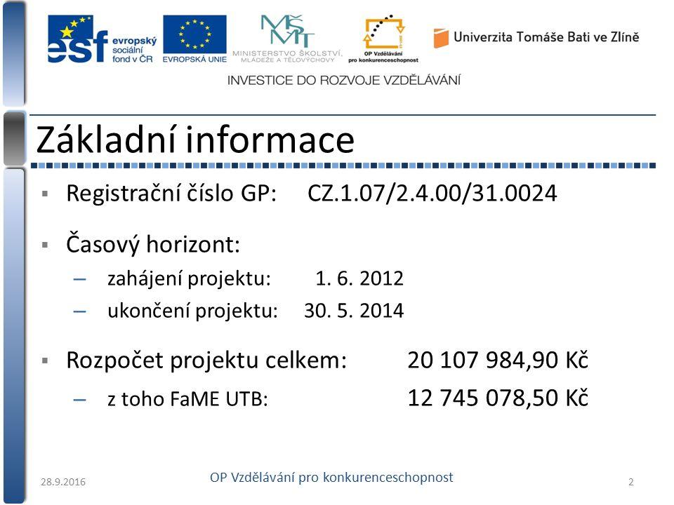  Registrační číslo GP: CZ.1.07/2.4.00/31.0024  Časový horizont: – zahájení projektu:1. 6. 2012 – ukončení projektu:30. 5. 2014  Rozpočet projektu c
