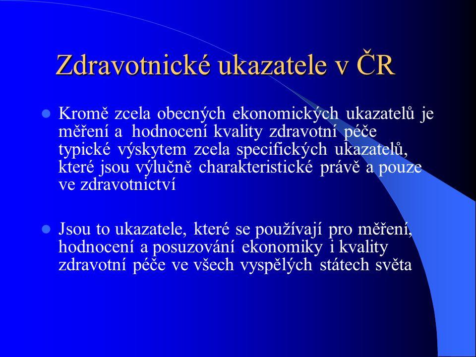 Kromě zcela obecných ekonomických ukazatelů je měření a hodnocení kvality zdravotní péče typické výskytem zcela specifických ukazatelů, které jsou výlučně charakteristické právě a pouze ve zdravotnictví Jsou to ukazatele, které se používají pro měření, hodnocení a posuzování ekonomiky i kvality zdravotní péče ve všech vyspělých státech světa Zdravotnické ukazatele v ČR