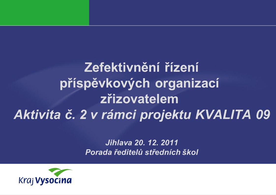 Zefektivnění řízení příspěvkových organizací zřizovatelem Aktivita č. 2 v rámci projektu KVALITA 09 Jihlava 20. 12. 2011 Porada ředitelů středních ško