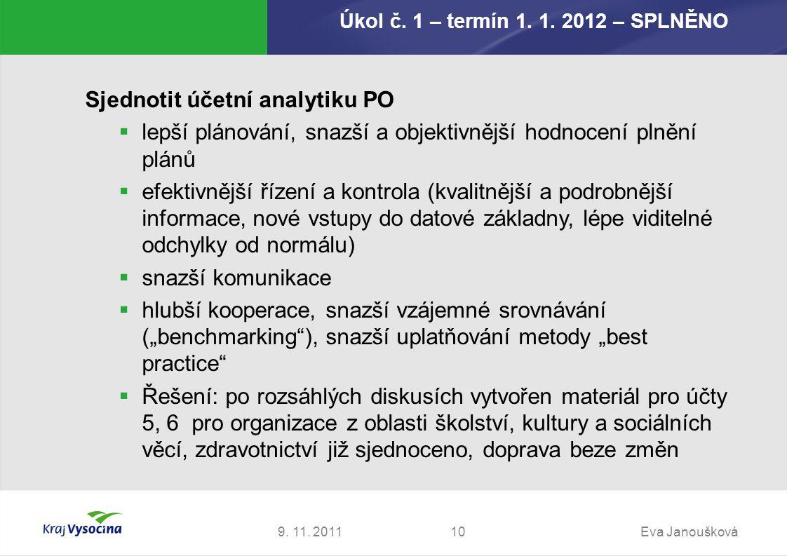 Úkol č. 1 – termín 1. 1. 2012 – SPLNĚNO 9. 11. 2011Eva Janoušková10 Sjednotit účetní analytiku PO  lepší plánování, snazší a objektivnější hodnocení