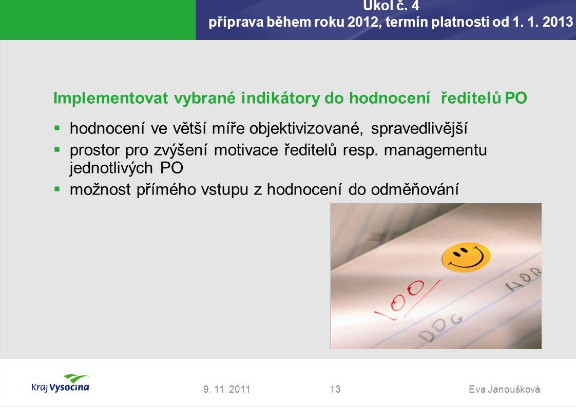 Úkol č. 4 příprava během roku 2012, termín platnosti od 1. 1. 2013 9. 11. 2011Eva Janoušková13 Implementovat vybrané indikátory do hodnocení ředitelů
