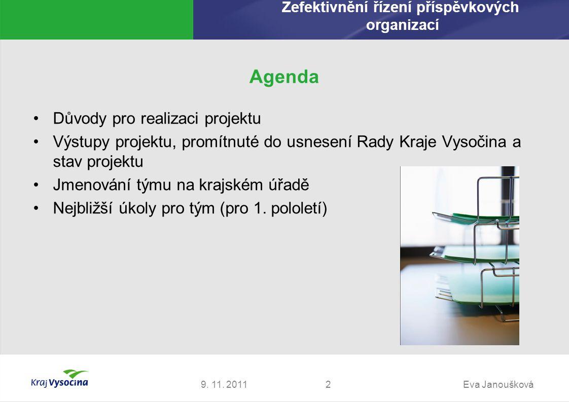 Agenda Důvody pro realizaci projektu Výstupy projektu, promítnuté do usnesení Rady Kraje Vysočina a stav projektu Jmenování týmu na krajském úřadě Nej