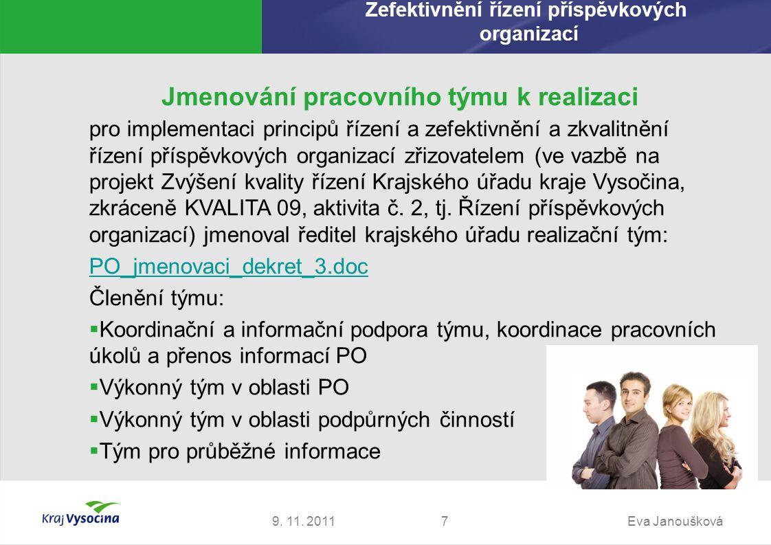 Jmenování pracovního týmu k realizaci 9. 11. 2011Eva Janoušková7 pro implementaci principů řízení a zefektivnění a zkvalitnění řízení příspěvkových or