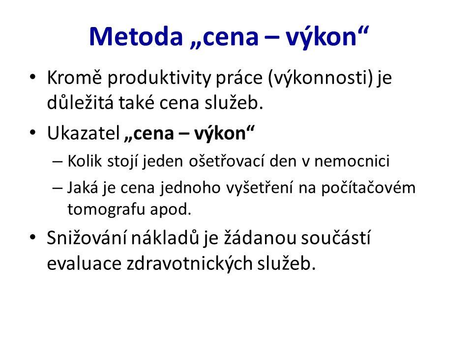 """Metoda """"cena – výkon Kromě produktivity práce (výkonnosti) je důležitá také cena služeb."""