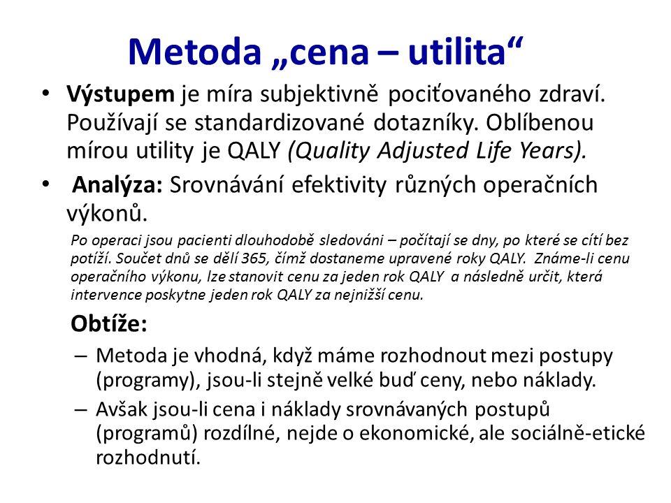 """Metoda """"cena – utilita Výstupem je míra subjektivně pociťovaného zdraví."""