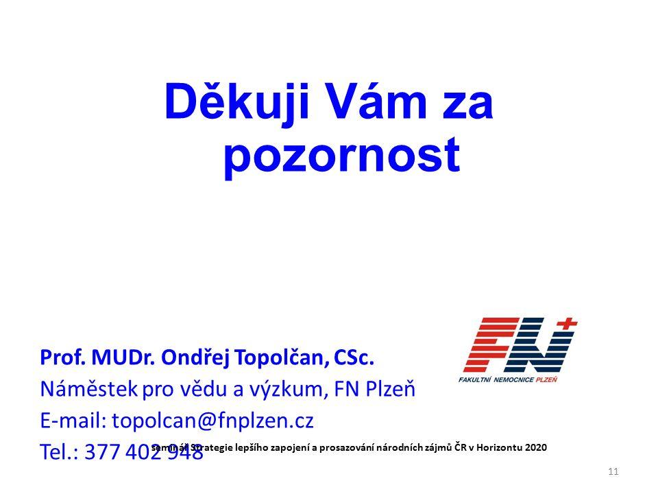 Děkuji Vám za pozornost Prof. MUDr. Ondřej Topolčan, CSc.