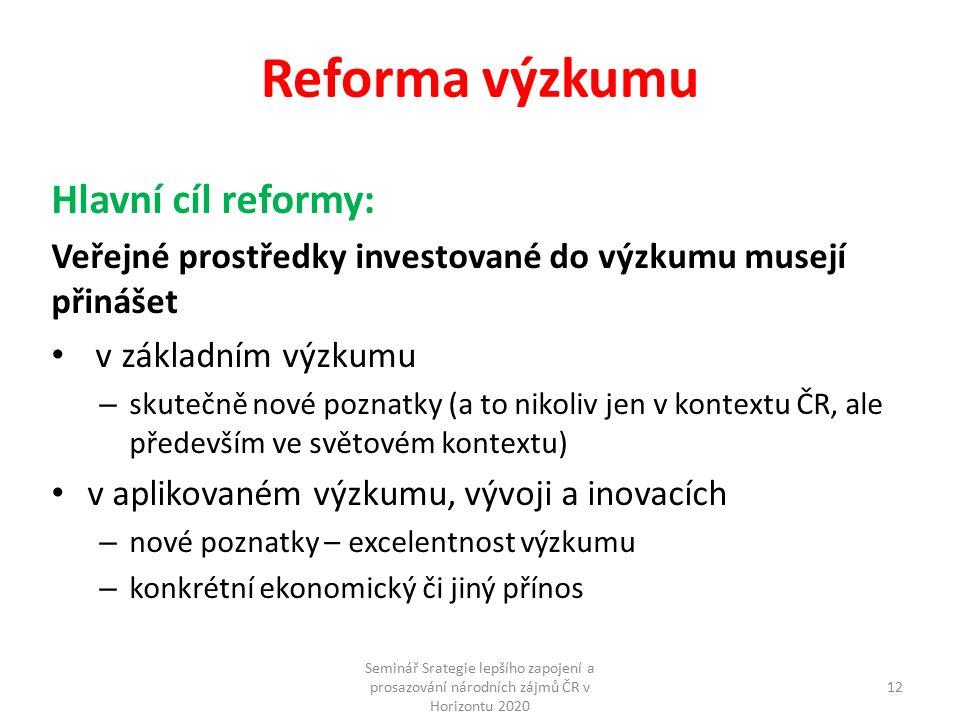 Reforma výzkumu Hlavní cíl reformy: Veřejné prostředky investované do výzkumu musejí přinášet v základním výzkumu – skutečně nové poznatky (a to nikoliv jen v kontextu ČR, ale především ve světovém kontextu) v aplikovaném výzkumu, vývoji a inovacích – nové poznatky – excelentnost výzkumu – konkrétní ekonomický či jiný přínos Seminář Srategie lepšího zapojení a prosazování národních zájmů ČR v Horizontu 2020 12