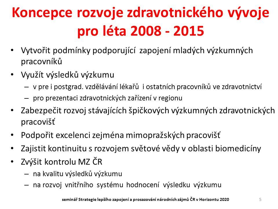 Koncepce rozvoje zdravotnického vývoje pro léta 2008 - 2015 Vytvořit podmínky podporující zapojení mladých výzkumných pracovníků Využít výsledků výzku