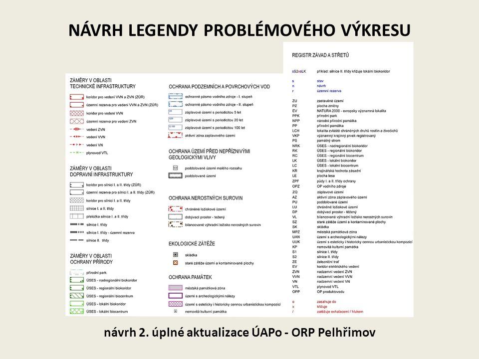 NÁVRH LEGENDY PROBLÉMOVÉHO VÝKRESU návrh 2. úplné aktualizace ÚAPo - ORP Pelhřimov