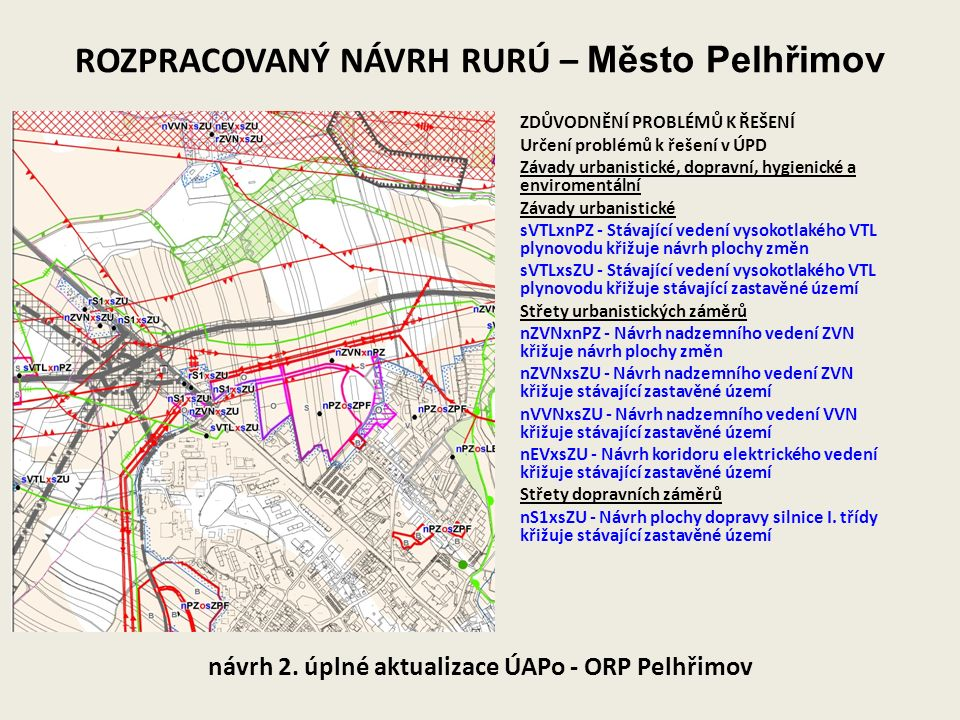 ROZPRACOVANÝ NÁVRH RURÚ – Město Pelhřimov návrh 2. úplné aktualizace ÚAPo - ORP Pelhřimov ZDŮVODNĚNÍ PROBLÉMŮ K ŘEŠENÍ Určení problémů k řešení v ÚPD