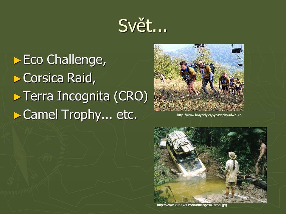 Svět... ► Eco Challenge, ► Corsica Raid, ► Terra Incognita (CRO) ► Camel Trophy... etc. http://www.k2news.com/dimages/Camel.jpg http://www.horydoly.cz
