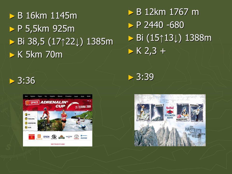 ► B 16km 1145m ► P 5,5km 925m ► Bi 38,5 (17 ↑ 22 ↓ ) 1385m ► K 5km 70m ► 3:36 ► B 12km 1767 m ► P 2440 -680 ► Bi (15↑13↓) 1388m ► K 2,3 + ► 3:39