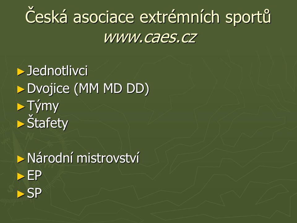 Česká asociace extrémních sportů www.caes.cz ► Jednotlivci ► Dvojice (MM MD DD) ► Týmy ► Štafety ► Národní mistrovství ► EP ► SP