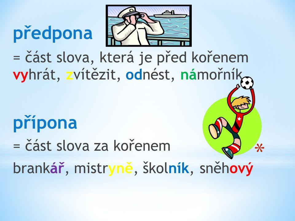 předpona = část slova, která je před kořenem vyhrát, zvítězit, odnést, námořník přípona = část slova za kořenem brankář, mistryně, školník, sněhový