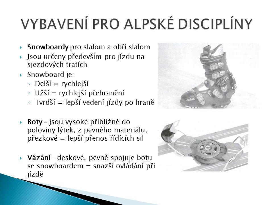  Snowboardy pro slalom a obří slalom  Jsou určeny především pro jízdu na sjezdových tratích  Snowboard je: ◦ Delší = rychlejší ◦ Užší = rychlejší přehranění ◦ Tvrdší = lepší vedení jízdy po hraně  Boty – jsou vysoké přibližně do poloviny lýtek, z pevného materiálu, přezkové = lepší přenos řídících sil  Vázání – deskové, pevně spojuje botu se snowboardem = snazší ovládání při jízdě