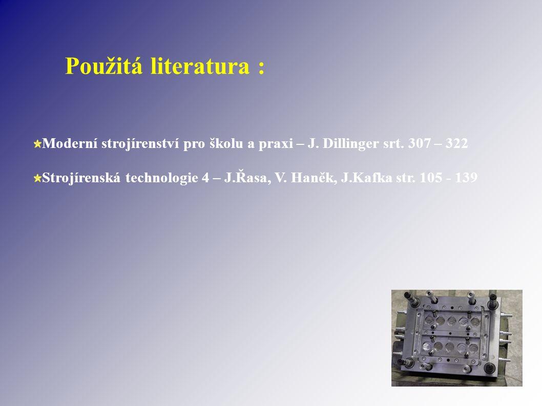 Použitá literatura : Moderní strojírenství pro školu a praxi – J. Dillinger srt. 307 – 322 Strojírenská technologie 4 – J.Řasa, V. Haněk, J.Kafka str.