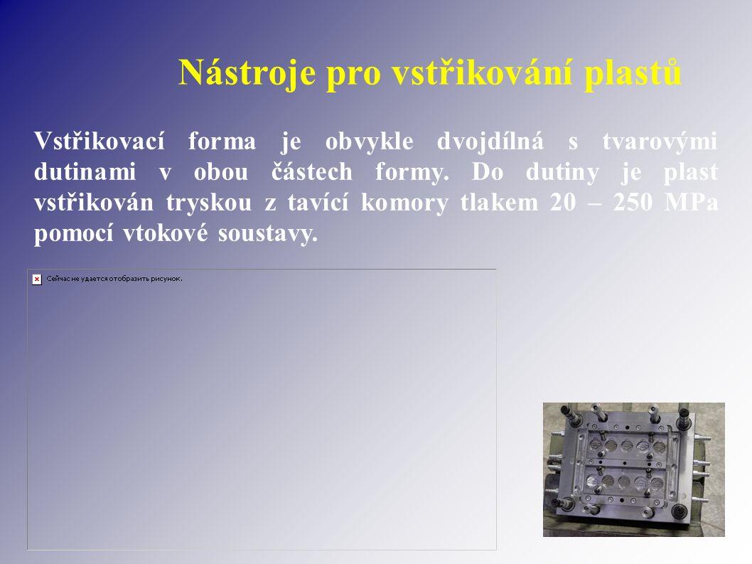 Nástroje pro vstřikování plastů Vstřikovací forma je obvykle dvojdílná s tvarovými dutinami v obou částech formy. Do dutiny je plast vstřikován trysko