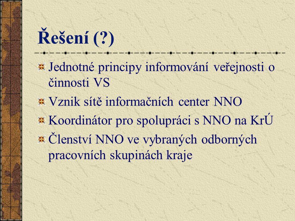 Řešení (?) Jednotné principy informování veřejnosti o činnosti VS Vznik sítě informačních center NNO Koordinátor pro spolupráci s NNO na KrÚ Členství