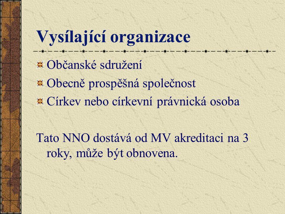 Vysílající organizace Občanské sdružení Obecně prospěšná společnost Církev nebo církevní právnická osoba Tato NNO dostává od MV akreditaci na 3 roky, může být obnovena.