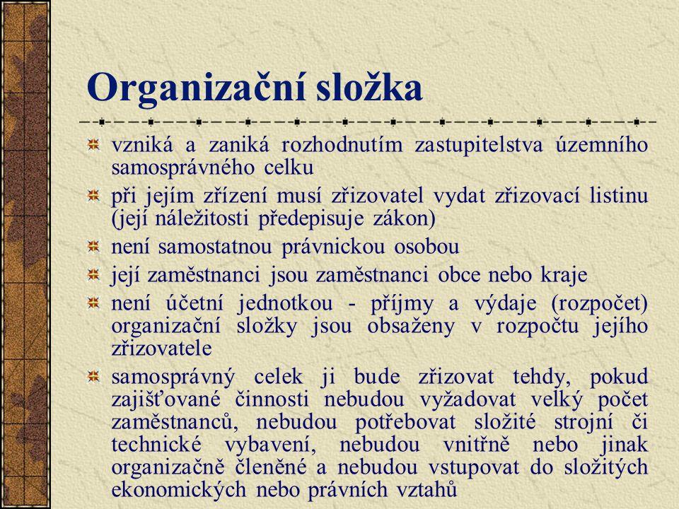 Organizační složka vzniká a zaniká rozhodnutím zastupitelstva územního samosprávného celku při jejím zřízení musí zřizovatel vydat zřizovací listinu (