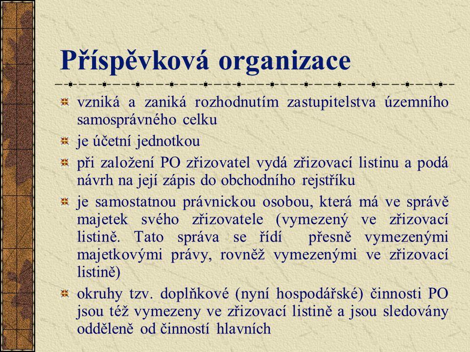 Příspěvková organizace vzniká a zaniká rozhodnutím zastupitelstva územního samosprávného celku je účetní jednotkou při založení PO zřizovatel vydá zři